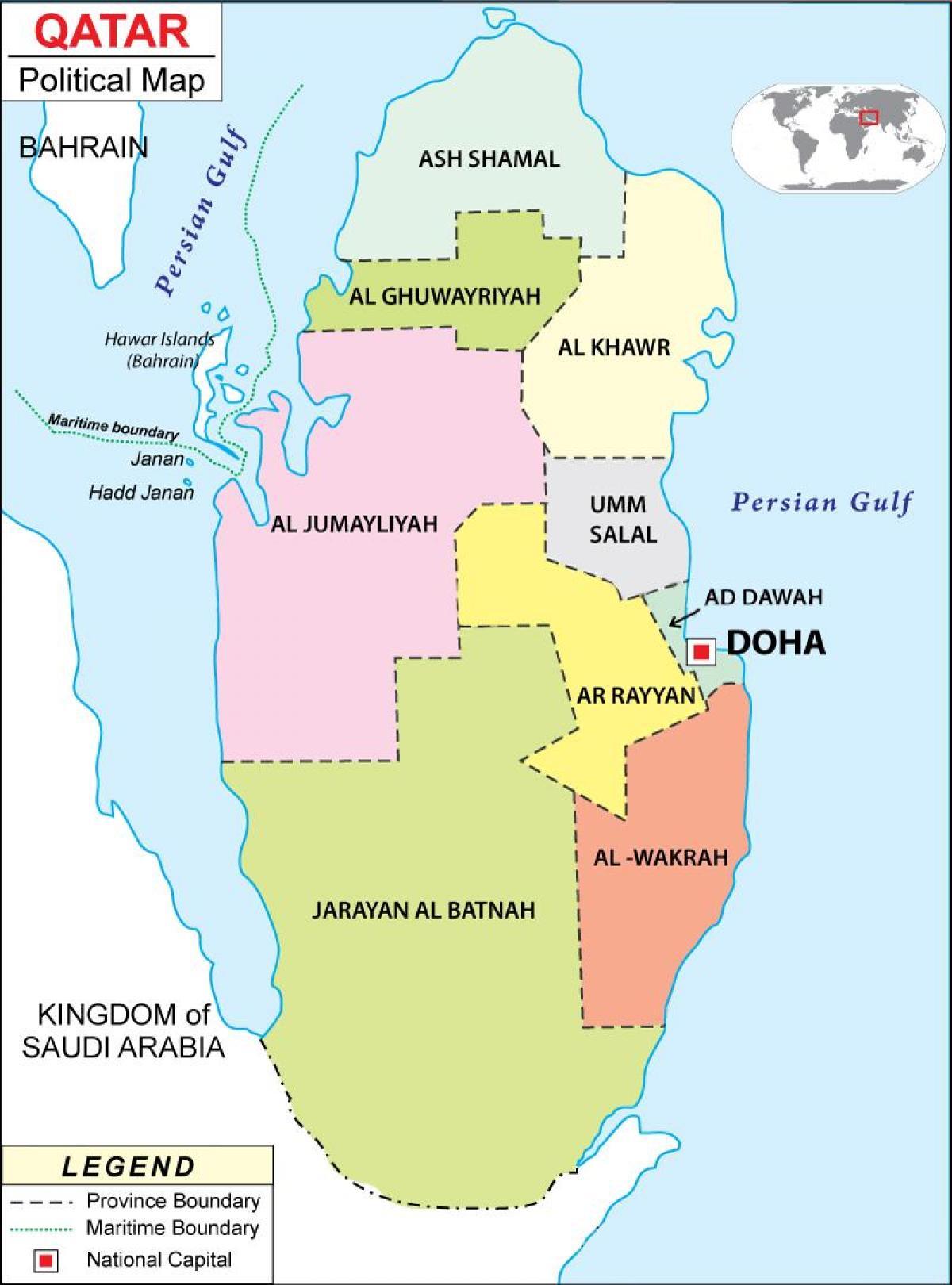Katar Mapa Polityczna Mapa Kataru Regionie Azja Zachodnia Azja